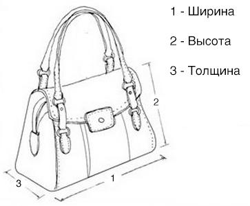Размеры сумок Пекоф